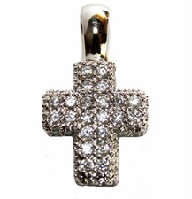 Pave Clear Crystal Cross Pendant