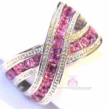 Pink Cz Silvertone Criss Cross Ring
