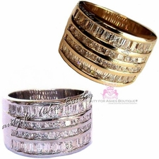 Classic Gold Plated Clear Cz Wide Band Miracles Ring