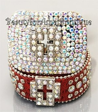 RED BLING CROSS BELT BUCKLE AURORA BOREALIS CRYSTALS ML