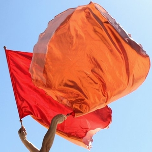 Red Orange Fire of God Warfare Double Layer Worship Stick Flags Set of 2 - Reinforced Handles