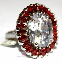 Red White Ruby Clear Cz Ring Burst Large Oversized Jewelry