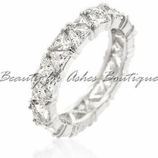 RHODIUM BONDED TRILLION CUT CLEAR CZ BAND RING NEW