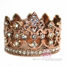 Rose Gold Stainless Steel Princess Crystal Crown of Life Ring