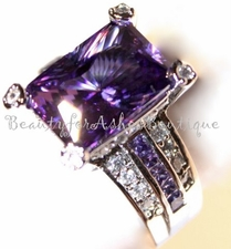 ROYAL AMETHYST PURPLE WEDDING PRINCESS CZ COCKTAIL PARTY RING