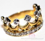 ROYALTY PRINCESS CZ TWO TONE GOLD PLATED CROWN OF LIFE RING