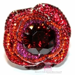 RUBY RED PINK GIANT ROSE FLOWER CELEBRITY INSPIRED PAVE CZ RING