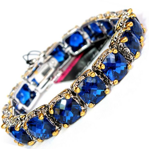 Sapphire Blue Cubic Zirconia Two Tone  Throne Room Bracelet