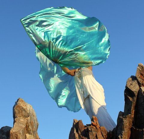 Sheer Aqua Green Healing for the Nations Praise Banners with Flexible Rods