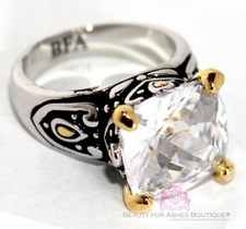 Clear White Cz Throne Room Two Tone Ring