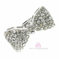 Silvertone Clear Crystal Small Bow Adjustable Ring