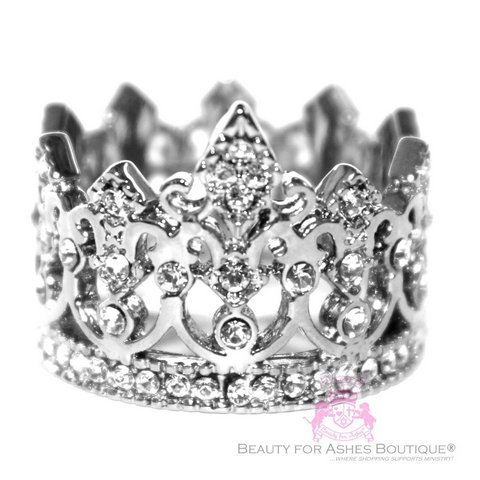 Silvertone Stainless Steel Crown of Life Princess Ring