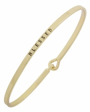 Slim Gold Tone BLESSED Bracelet