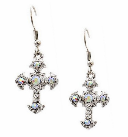 Small Clear Aurora Borealis Crystal Cross Dangle Earrings