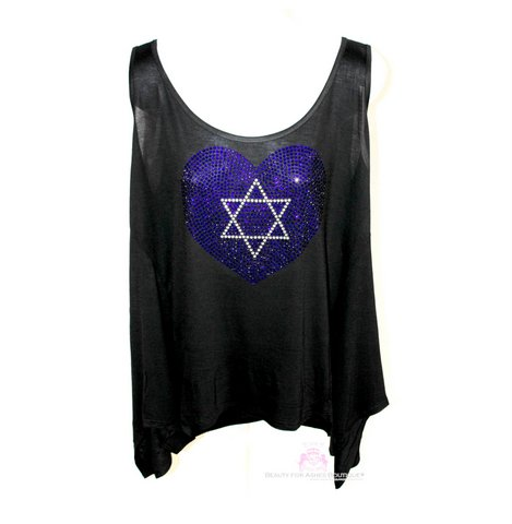 Plus Size Star of David Blue Heart Yeshua Crystal Embellished Tank Top