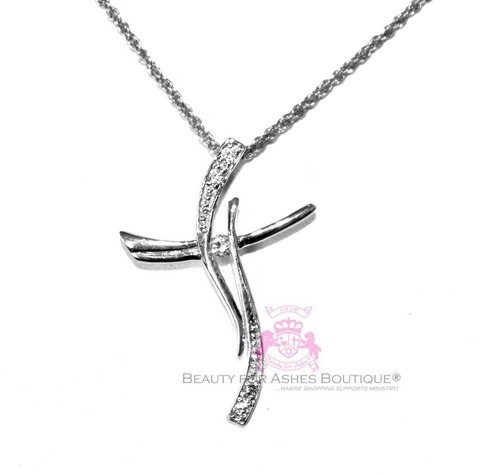 Sterling Silver Clear Cz Accents Curved Cross Necklace