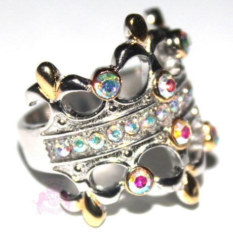 Sterling Silver Fleur De Lis Double Crown Aurora Borealis Two Tone Ring