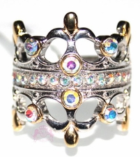 Sterling Silver Fleur De Lis Double Crown Aurora Borealis Two Tone Ring Size 7.5