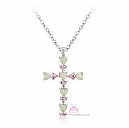 STERLING SILVER GENUINE FIRE OPAL HEARTS and CZ STONES CROSS NECKLACE