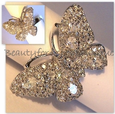 STERLING SILVER MARIAH CAREY RHODIUM PLATING PAVE CZ BUTTERFLY RING