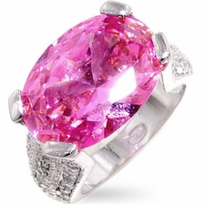STERLING SILVER PINK CUBIC ZIRCONIA CHECKER CUT RING