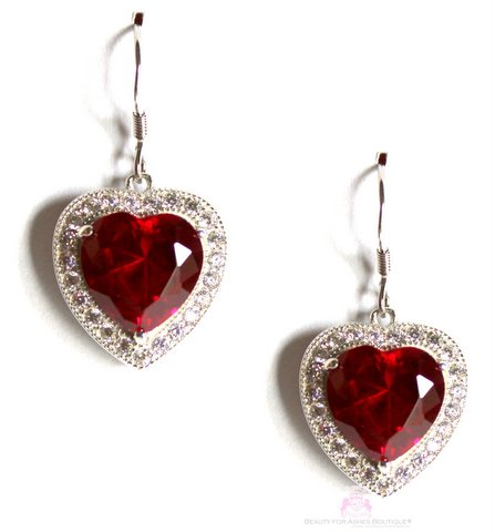 Sterling Silver Prophet's Heart Ruby Red Cz Earrings