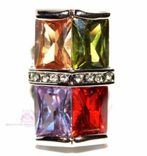 SUPERSIZED FOUR STONE RUBY TOPAZ OLIVINE MULTI CZ RING