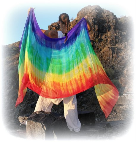 "Tie Dye 7 Color Rainbow Hand Dyed Silk 108"" x 45"""