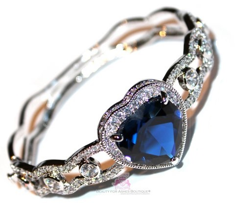 Sapphire Blue Heart for Jerusalem Love Cuff Cz Bracelet