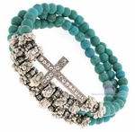 Turquoise Beaded Wrap Layered Silver Crystal Cross Bracelet