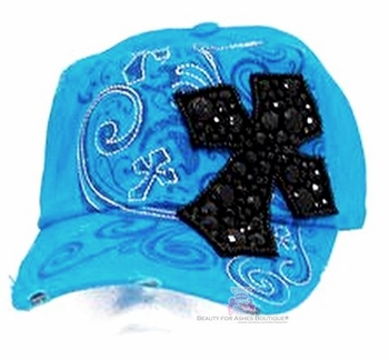 VINTAGE TURQUOISE BLUE BLACK BLING CROSS CAP HAP