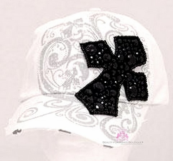 VINTAGE WHITE  INSPIRATIONAL BLACK BLING CROSS CAP HAP