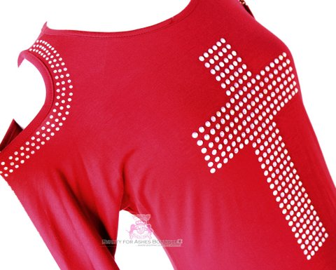 Vocal Red AB Rhinestone Embellished  Cross Bat Wing T Shirt