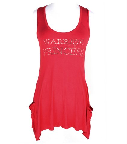 Warrior Princess Hematite Sword Red Handkerchief Tank Top