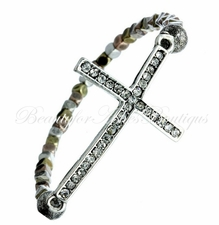 Carry Your Cross Crystal Tritone Rustic Stretch Bracelet