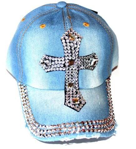Womens Distressed Christian Bling Cross Blue Jean Cap Hat