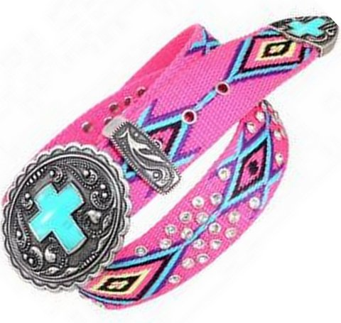 Womens Pink Turquoise Cross Serape Belt Buckle