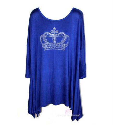 Womens Plus Size Royalty Crystal Crown Queen Handkerchief Long Back Sleeve Top