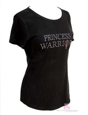 Womens Princess Warrior Pink Sword Rhinestone Black T Shirt