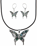 Abalone Butterfly Necklace and Earrings Set