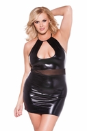 Allure 17-7602XK Wet Look Plus Size Halter Dress