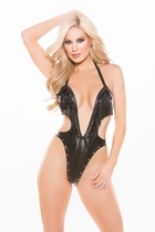 Allure 4-4005 Faux Leather Deep Neckline Teddy