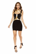 Clubwear Mini Dress with Gold Strapped Holster Detail