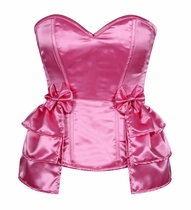 Daisy LV-176 Pink Satin Corset w/Removable Snap on Skirt