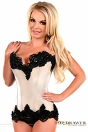 Daisy TD-033 Ivory Satin Steel Boned Beaded Corset To Size 6X
