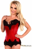 Daisy TD-034 Red Satin Steel Boned Beaded Corset To Size 6X