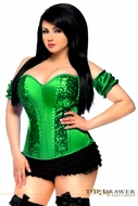 Daisy TD-160 Green Steel Boned Molded Cup Sequin Corset Size XL