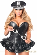 Daisy TD-923 Top Drawer Premium Faux Leather Cop Corset Dress Costume