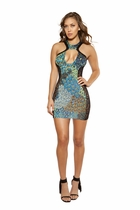 Dancewear Cutout Printed Dress with Lace Sides