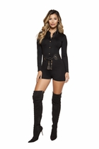 Dancewear Romper with Collared Gold Button-up Front Closure